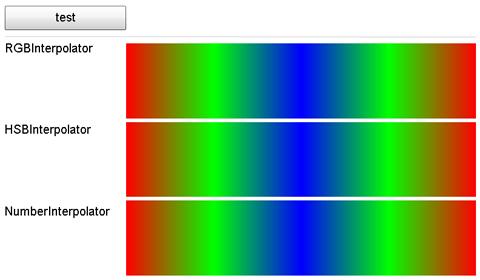 IInterpolator インターフェイスを実装した 3 つのクラス (RGBInterpolator, HSBInterpolator, NumberInterpolator) のサンプル [1]